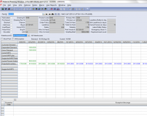 Screen capture: ERP system record for a single part number.